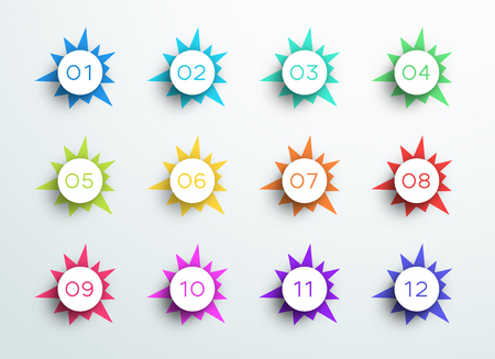 Number Bullet Point Abstract Spiky Shapes 1 to 12