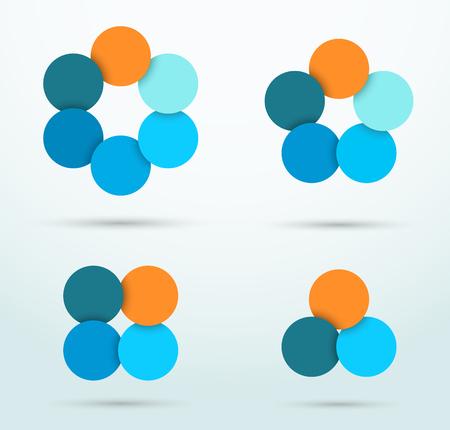 Infographic Circle Segments Linked Template Set 일러스트