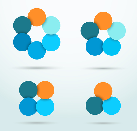 Infographic Circle Segments Linked Template Set Vectores