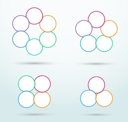 Infographic Colourful Outlined Circle Segments Set