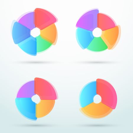 Infographic business colorful linked shape cycles.