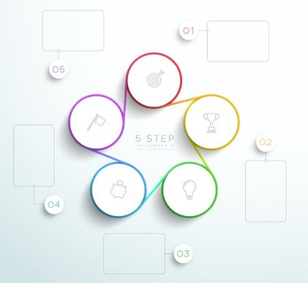 Plansza biznes podłączony 5 zestaw, cykl projektowania. Ilustracje wektorowe