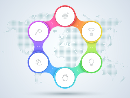Infographic 6 Point Business Diagram With World Map.
