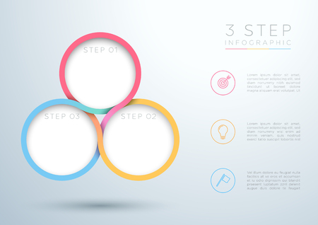 Infographic Colourful 3 Step Interweaving Circle Diagram. Vettoriali