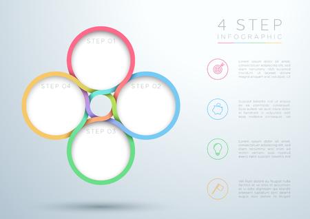 インフォグラフィックカラフルな4ステップ織りサークル図。  イラスト・ベクター素材