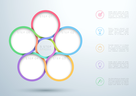 Infographic Colourful 5 Step Interweaving Circle Diagram Illustration