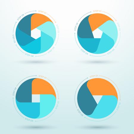 フラット ビジネス ワークフローダイアグラムのインフォグラフィック セット。