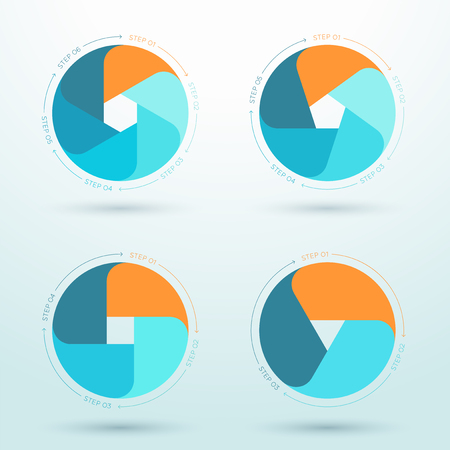 Infographic Set of Flat Business Workflow Diagrams. Illustration