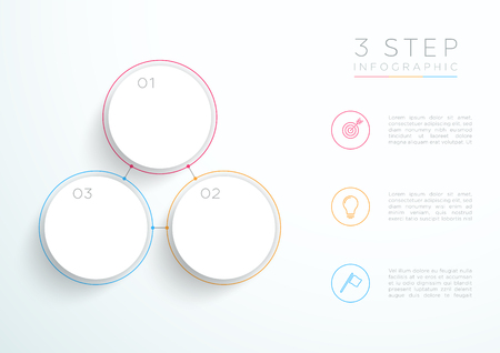 Infographic Simple White 3 Step Connected Circles.