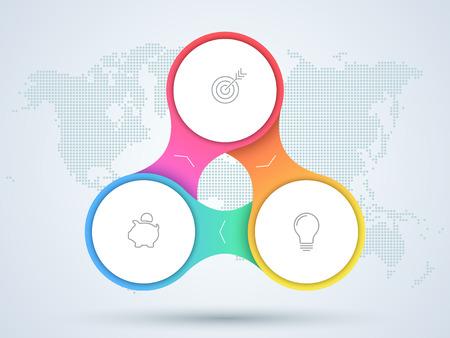 Diagrama do negócio de Infographic de 3 pontos com mapa do mundo.