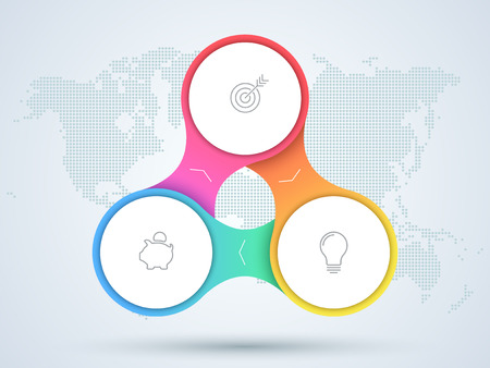 Infographic 3 Point Business Diagram With World Map. Illustration