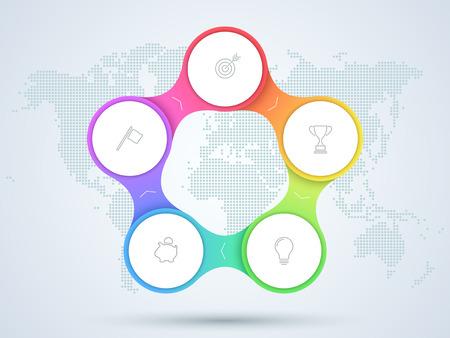 Infografika 5-punktowy schemat biznesowy z mapy świata.