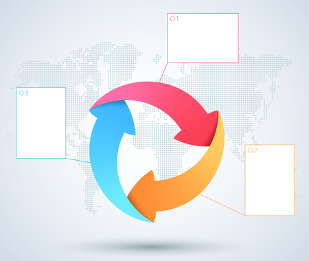 Infographic 3 Arrow Business Diagram With World Map