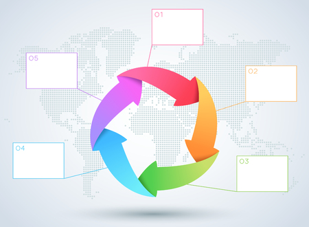 Infographic 5 Arrow Business Diagram With World Map.
