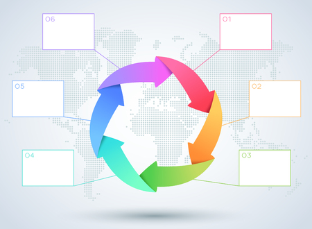 Infographic 6 Arrow Business Diagram With World Map. 矢量图像