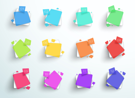Numbered Abstract Colorful Square Text Boxes 1 to 12 Vector