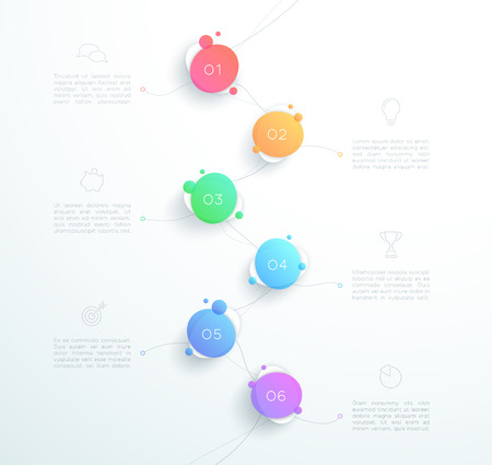 Vector abstract 3D number 1 to 6 step infographic page layout  イラスト・ベクター素材