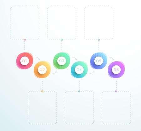 抽象 3D 円番号 1 ~ 6 水平ベクトル  イラスト・ベクター素材