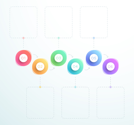 Abstract 3d Circles Number 1 to 6 Horizontal Vector