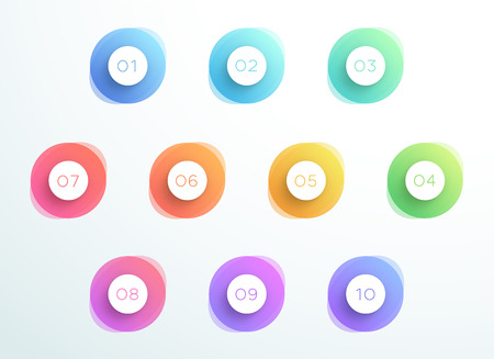 Abstract bullet point 3D circles number 1 to 10 vector