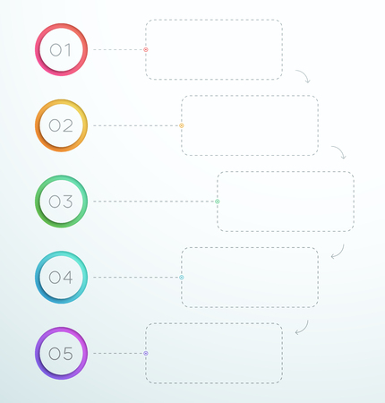 Infographic Number Circle Rings 1 to 5 template.