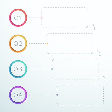 Infographic Number Circle Anillos 1 a 4 plantilla.
