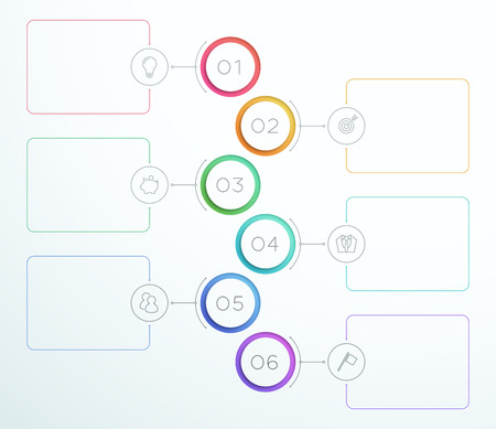 Infographic Number Circle Rings da 1 a 6 Vector