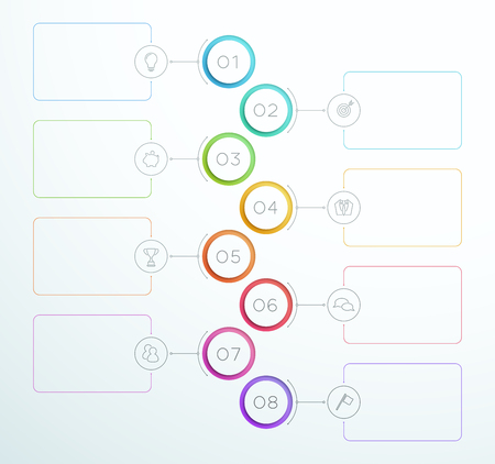 Infographic Number Circle Rings 1 to 8 Vector Vettoriali