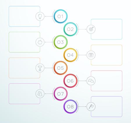 Infographic nummer cirkel ringen 1 tot 8 Vector
