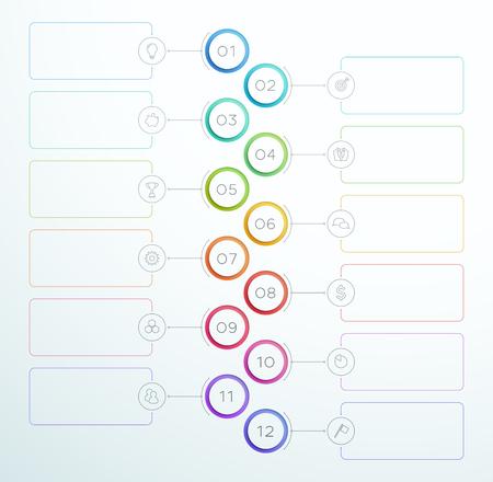 Infografik Nummer Kreis Ringe 1 bis 12 Vektor Standard-Bild - 93135964