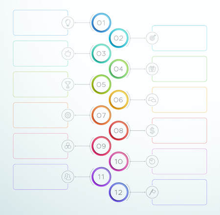 Infographic Number Circle Rings 1 to 12 Vector