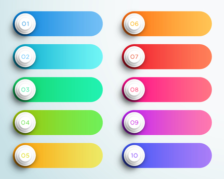 Pontos de marcador de número 1 a 10 com caixas de texto Foto de archivo - 93431564