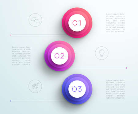 Number Bullet Points 1, 2, 3 Purple Infographic Illustration