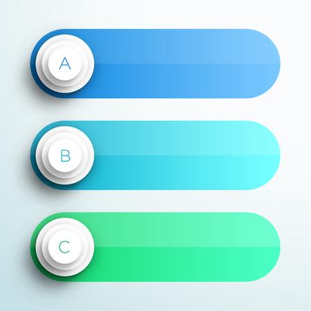 Banners de caixa de texto do vetor infográfico A, B, C