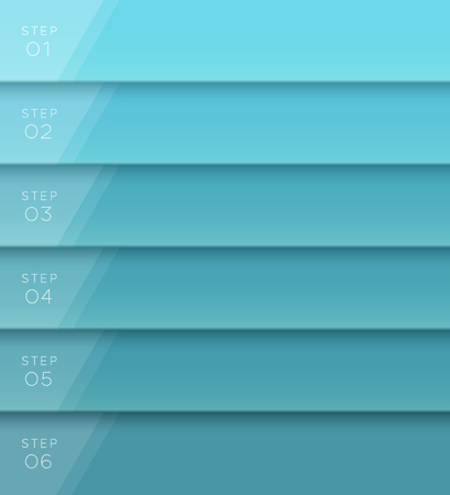 Vector 3D Blue Text Banner Page Template Steps 1 to 6