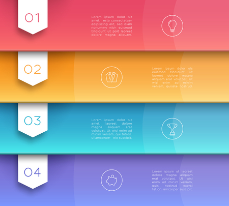 Vector 3D Colorful Text Banner Flags Number 1 to 4