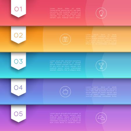 Vecteur 3D Texte coloré Bannière Drapeaux Nombre 1 à 5