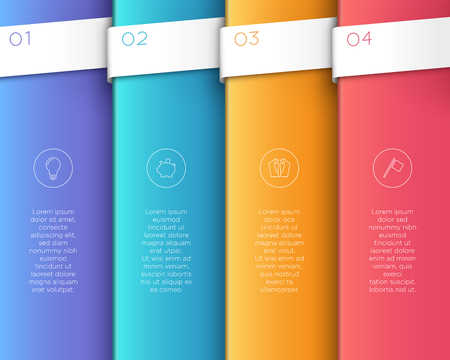Vector 3D Colorful Vertical Text Banner Steps 1 to 4