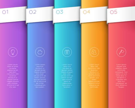 La bandera vertical colorida del texto del vector 3D camina 1 a 5. Foto de archivo - 94426191