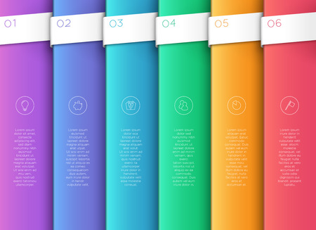 Vector 3D Colorful Vertical Text Banner Steps 1 to 6.