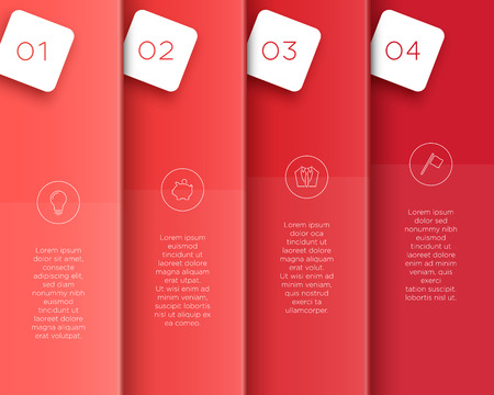 Vector 3D Red Vertical Text Banner Template Steps 1 to 4.