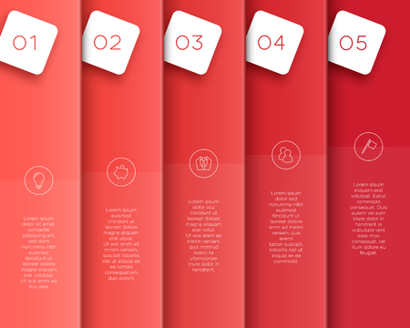 Vector 3D Red Vertical Text Banner Template Steps 1 to 5.