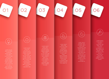 Vector 3D Red Vertical Text Banner Template Steps 1 to 6.