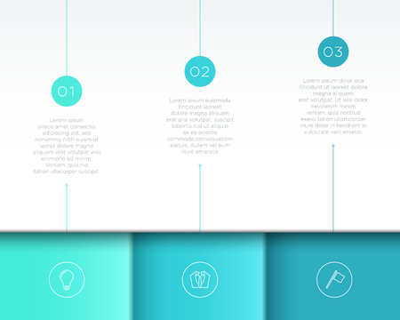 Vector Blue Infographic 3D Page Layout with Steps 1 to 3