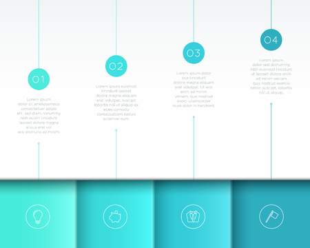 Vector Blue Infographic 3D Page Layout with Steps 1 to 4