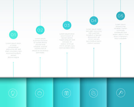 Vector Blue Infographic 3D Page Layout with Steps 1 to 5