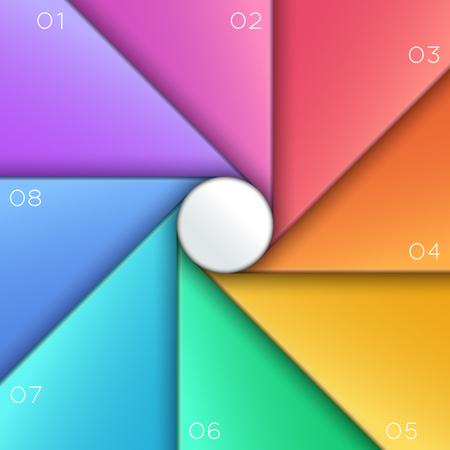 Cerchio centrale sezioni da 1 a 8 modello di infografica. Archivio Fotografico - 94897643