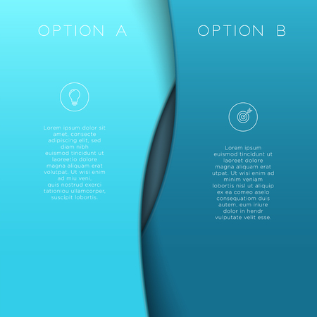 Left right A and B blue background template 3d vector. Illustration