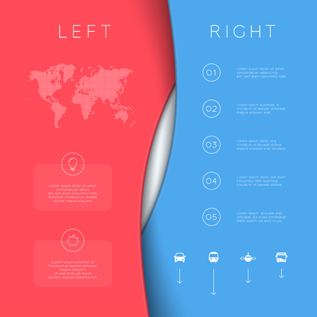 Left right red blue background template 3d vector. Ilustração
