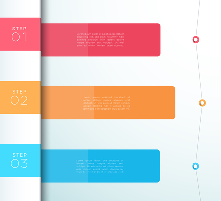 Colorful 3 steps list infographic vector diagram. Vettoriali